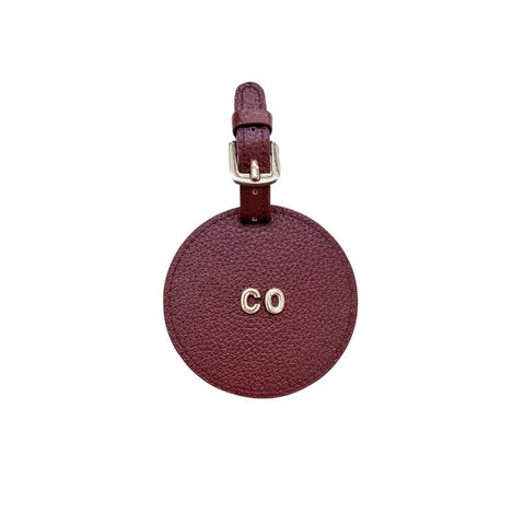 3D Monogram Personalised Leather Luggage Tag Burgundy Red
