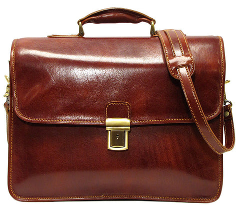 FLOTO Cortona Leather Briefcase Men Vecchio Brown