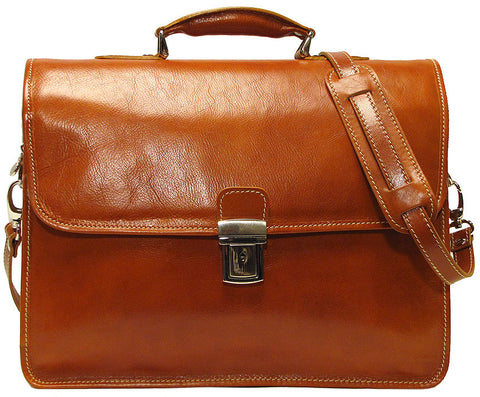 FLOTO Cortona Leather Briefcase Men Olive Brown