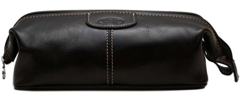 FLOTO VENEZIA LEATHER DOPP TRAVEL KIT BLACK