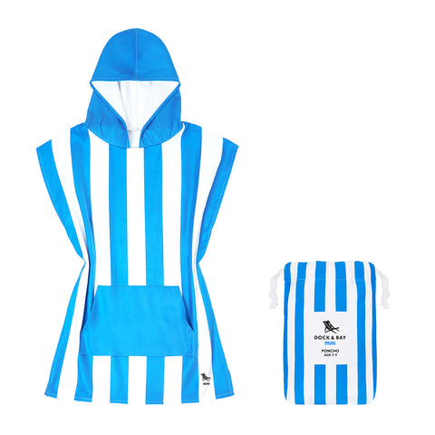 Dock & Bay 100% Recycled Mini Poncho Cabana Collection Blue