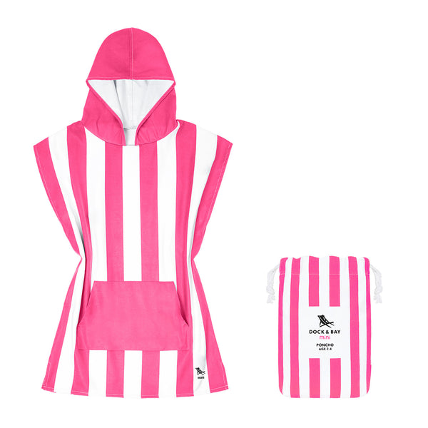 Dock & Bay 100% Recycled Mini Poncho Cabana Collection Pink
