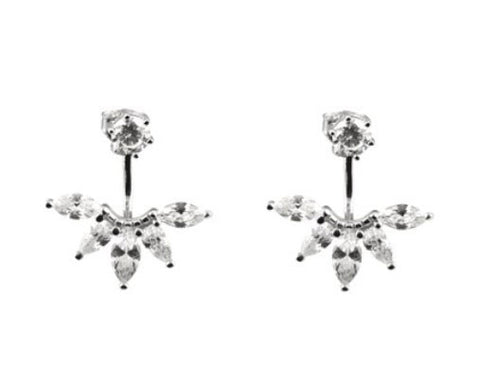 ICHU Ear Jacket Cubic Zirconia Sterling Silver Stud Earrings