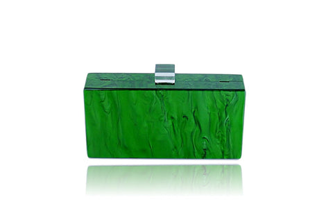 EMERALD GREEN Marble Acrylic LUCITE BOX CLUTCH