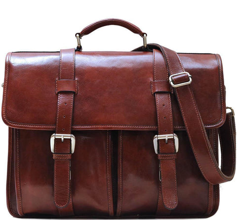 FLOTO FIRENZE LEATHER BUCKLE STRAP BRIEFCASE VECCHIO BROWN