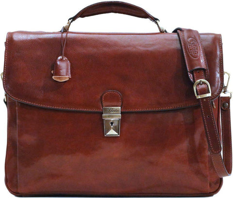 FLOTO FIRENZE LEATHER LAPTOP BRIEFCASE VECCHIO BROWN