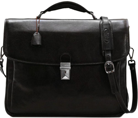 FLOTO FIRENZE LEATHER LAPTOP BRIEFCASE BLACK