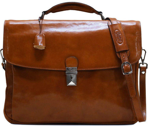 FLOTO FIRENZE LEATHER LAPTOP BRIEFCASE OLIVE BROWN