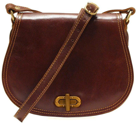 FLOTO FIRENZE SADDLE SHOULDER BAG VECCHIO BROWN