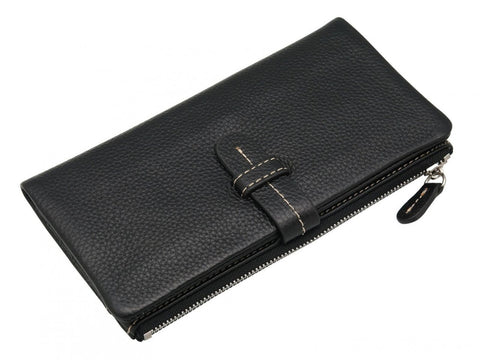 PRATTEN Leather Flat Wallet - Black