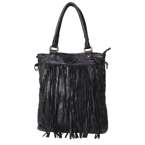 CADELLE LEATHER Felicity Fringe Shoulder Bag Black