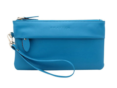 PRATTEN Franco Leather Wristlet Sky Blue