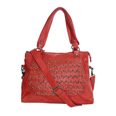 CADELLE LEATHER Geneve Stud Bag Red