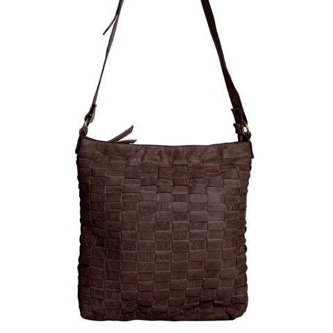 CADELLE LEATHER GIA WOVEN SATCHEL BAG CHOCOLATE BROWN