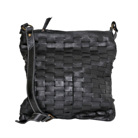 CADELLE LEATHER GIA WOVEN SATCHEL BAG BLACK