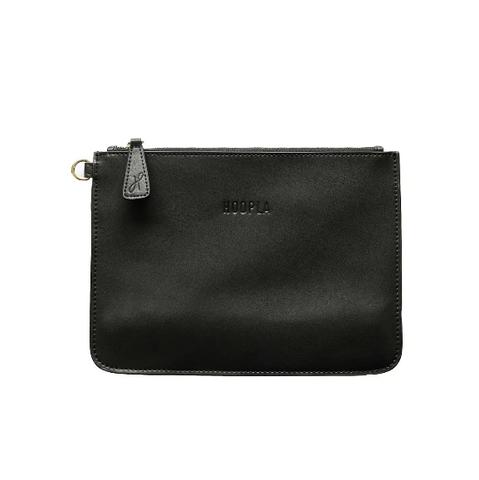 HOOPLA LEATHER CLUTCH BLACK