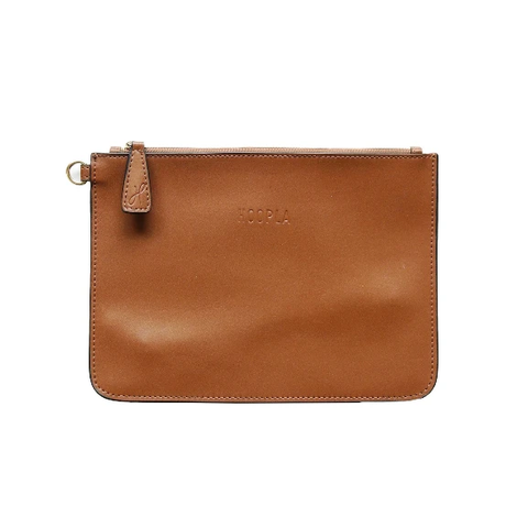 HOOPLA LEATHER CLUTCH BROWN