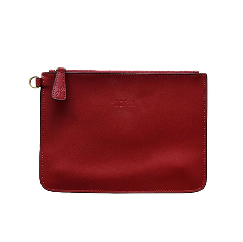 HOOPLA LEATHER CLUTCH BURGUNDY RED