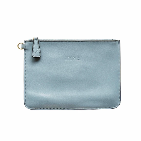 HOOPLA LEATHER CLUTCH BLUE/GREY