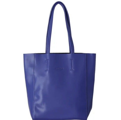 HOOPLA LEATHER LARGE PORTRAIT TOTE BLUE