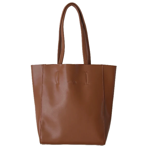 HOOPLA LEATHER LARGE PORTRAIT TOTE BROWN