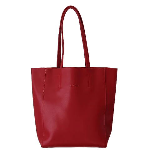 HOOPLA LEATHER LARGE PORTRAIT TOTE BURGUNDY RED