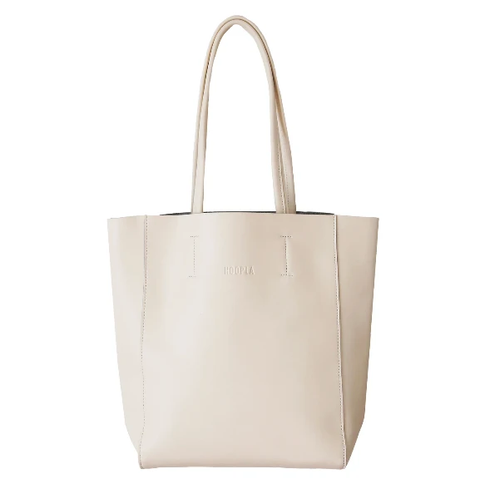 HOOPLA LEATHER LARGE PORTRAIT TOTE CREAM