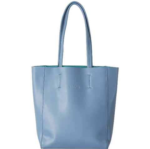 HOOPLA LEATHER LARGE PORTRAIT TOTE BLUE/GREY