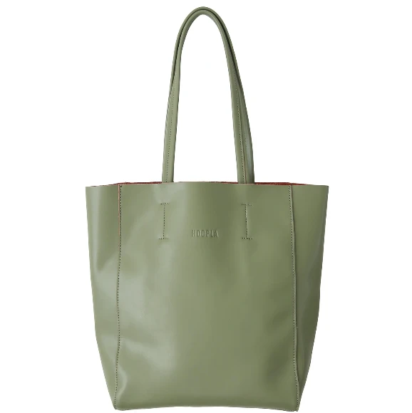 HOOPLA LEATHER LARGE PORTRAIT TOTE OLIVE GREEN