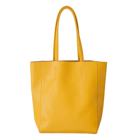 HOOPLA LEATHER LARGE PORTRAIT TOTE MUSTARD YELLOW