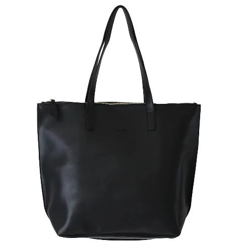 HOOPLA LEATHER LARGE ZIP TOTE BLACK