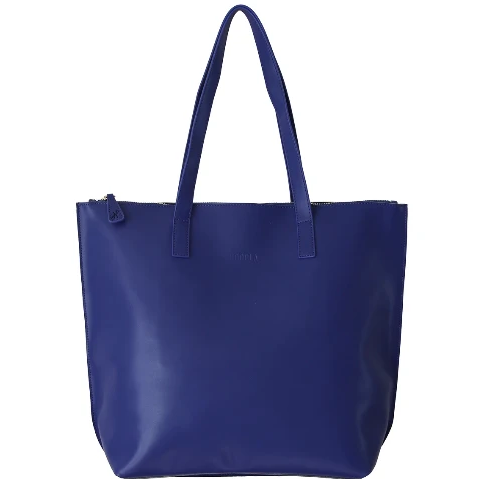 HOOPLA LEATHER LARGE ZIP TOTE BLUE