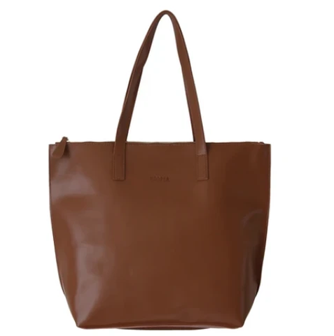 HOOPLA LEATHER LARGE ZIP TOTE BROWN