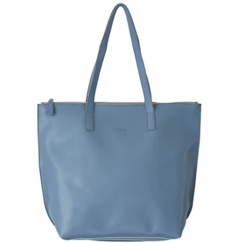 HOOPLA LEATHER LARGE ZIP TOTE BLUE/GREY