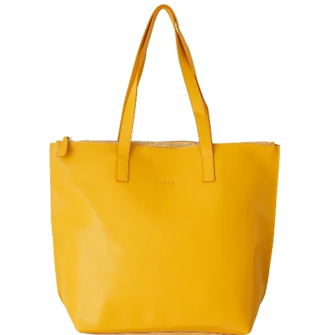 HOOPLA LEATHER LARGE ZIP TOTE MUSTARD YELLOW