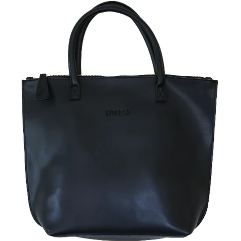 HOOPLA LEATHER MINI TOTE BAG BLACK