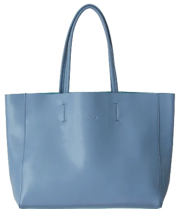 HOOPLA LEATHER LARGE LANDSCAPE TOTE BLUE/GREY
