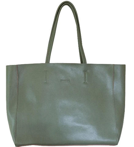 HOOPLA LEATHER LARGE LANDSCAPE TOTE OLIVE GREEN