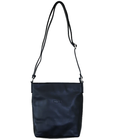 HOOPLA LEATHER CROSSBODY SLOUCH BAG BLACK