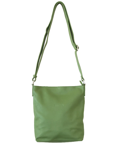 HOOPLA LEATHER CROSSBODY SLOUCH BAG FOREST GREEN