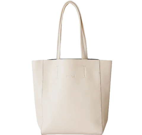 HOOPLA LEATHER SMALL PORTRAIT TOTE CREAM