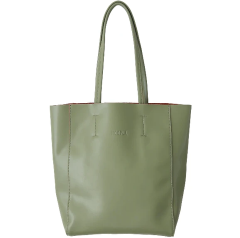 HOOPLA LEATHER SMALL PORTRAIT TOTE OLIVE GREEN