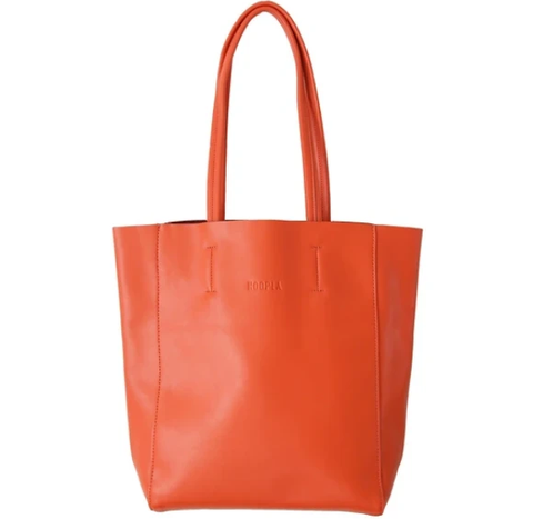HOOPLA LEATHER SMALL PORTRAIT TOTE ORANGE
