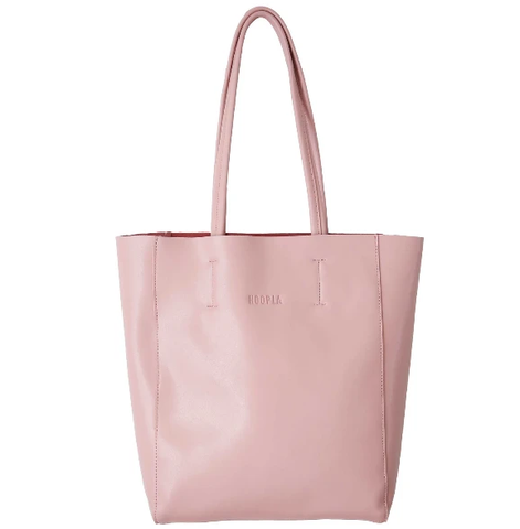 HOOPLA LEATHER SMALL PORTRAIT TOTE DUSTY PINK