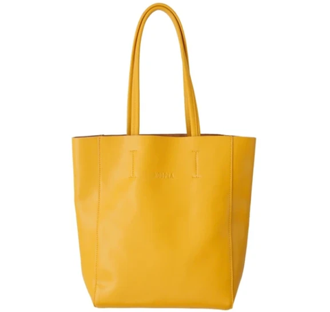 HOOPLA LEATHER SMALL PORTRAIT TOTE MUSTARD YELLOW