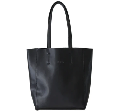 HOOPLA LEATHER SMALL PORTRAIT TOTE BLACK