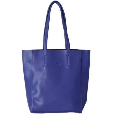 HOOPLA LEATHER SMALL PORTRAIT TOTE BLUE
