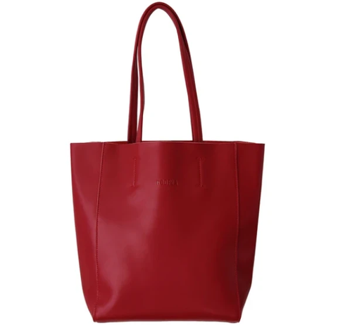 HOOPLA LEATHER SMALL PORTRAIT TOTE BURGUNDY RED