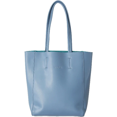 HOOPLA LEATHER SMALL PORTRAIT TOTE BLUE/GREY