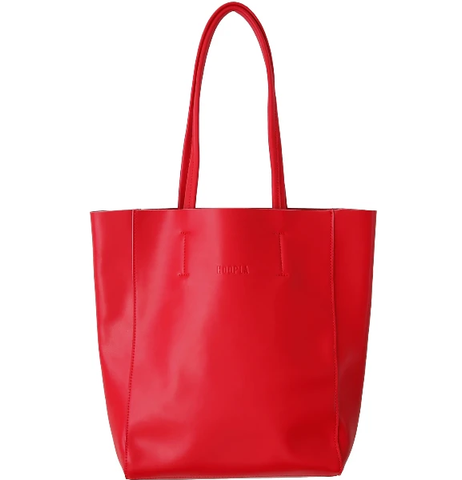 HOOPLA LEATHER SMALL PORTRAIT TOTE RED